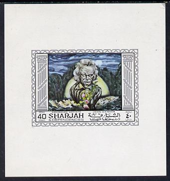 Sharjah 1968 American Artists imperf sheetlet containing 40 Dh value (John Wenger) unmounted mint as Mi 450
