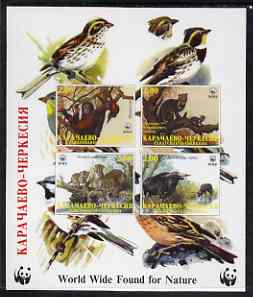 Karachaevo-Cherkesia Republic 1998 WWF imperf sheetlet containing set of 4 values unmounted mint