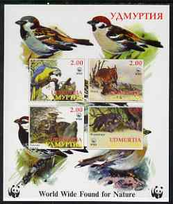 Udmurtia Republic 1998 WWF imperf sheetlet containing set of 4 values unmounted mint