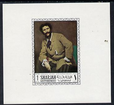 Sharjah 1968 American Artists imperf sheetlet containing 1R value (John Singer Sargent) unmounted mint as Mi 453