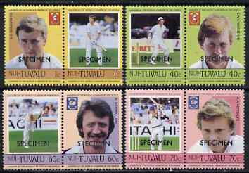 Tuvalu - Nui 1985 Cricketers (Leaders of the World) set of 8 overprinted SPECIMEN unmounted mint