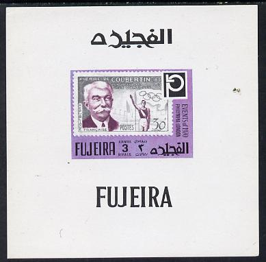 Fujeira 1972 Philympia Stamp Exhibition imperf sheetlet containing 3R value showing Coubertin on Olympic stamp of France as Mi 1460
