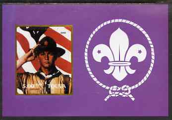 Touva 2000 Scouts (saluting with flag by Norman Rockwell) rouletted m/sheet unmounted mint