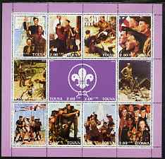 Touva 2000 Scout Paintings by Norman Rockwell perf sheetlet containing 12 values unmounted mint