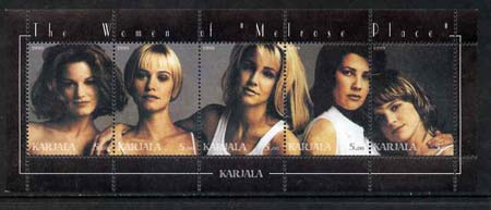 Karjala Republic 1999 The Women of Melrose Place (TV Series) perf sheetlet containing 5 values unmounted mint
