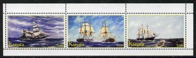 Karjala Republic 2000 Sailing Ships perf sheetlet containing 3 values unmounted mint