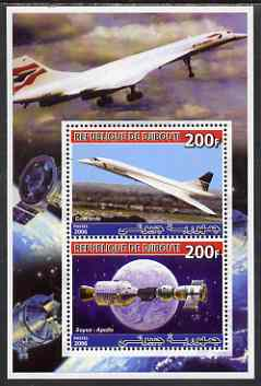 Djibouti 2006 Concorde & Apollo-Soyuz perf sheetlet containing 2 values unmounted mint
