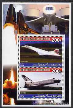 Djibouti 2006 Concorde & Space Shuttle perf sheetlet containing 2 values unmounted mint