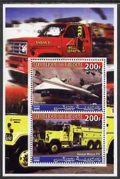 Djibouti 2006 Concorde & General Motors FT1 Fire Truck perf sheetlet containing 2 values unmounted mint