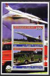 Djibouti 2006 Concorde & Spartan/Darley Pumper Fire Truck perf sheetlet containing 2 values unmounted mint
