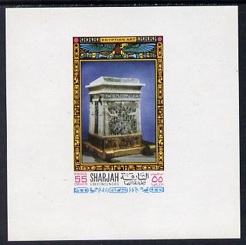 Sharjah 1968 Egyptology imperf sheetlet containing 55 Dh value (Sarcophagus) as Mi 460 unmounted mint