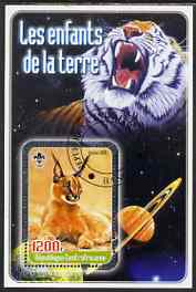 Central African Republic 2005 Young Animals of the World #2 (Big Cats) perf souvenir sheet containing 1 value with Scout logo, fine cto used