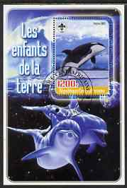 Central African Republic 2005 Young Animals of the World #6 (Whales & Dolphins) perf souvenir sheet containing 1 value with Scout logo, fine cto used