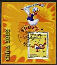 Somalia 2006 Beijing Olympics (China 2008) #08 - Donald Duck Sports - Field Hockey & Ice Hockey perf souvenir sheet fine cto used