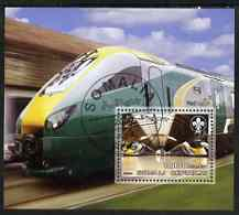 Somalia 2006 Modern Trains #1 perf souvenir sheet with Scout Logo, fine cto used