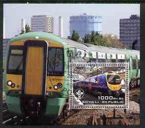 Somalia 2006 Modern Trains #4 perf souvenir sheet with Scout Logo, fine cto used