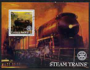 Eritrea 2002 Steam Locos #01 perf m/sheet with Rotary Logo fine cto used