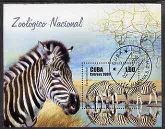 Cuba 2005 National Zoo perf m/sheet (Zebra) fine cto used