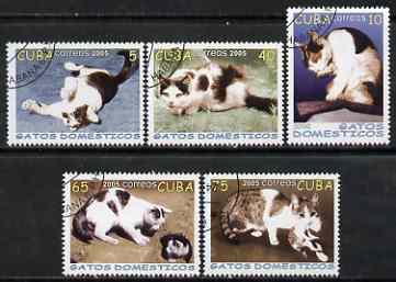 Cuba 2005 Domestic Cats perf set of 5 fine cto used