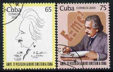 Cuba 2005 Albert Einstein perf set of 2 fine cto used