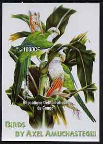 Congo 2005 Birds by Axel Amuchastegui (Parrots) imperf m/sheet unmounted mint