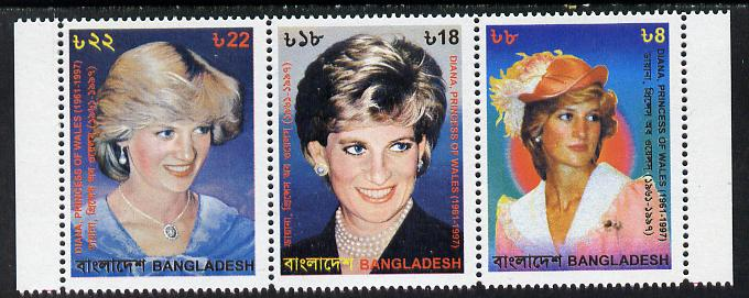 Bangladesh 1998 Princess Diana Commemoration unmounted mint strip of 3