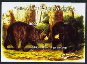 Congo 2005 Audubon Animals of North America (Bears) imperf m/sheet unmounted mint