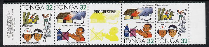 Tonga 1991 Accident Prevention 32s se-tenant bi-lingual strip of 4 incl corrected inscription unmounted mint, SG 1117a & 1119b