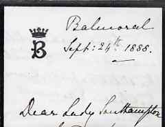 Great Britain 1888 Handwritten letter from PRINCESS BEATRICE on monogrammed mourning note-paper sent from Balmoral with matching envelope (roughly opened).  The Princess ...