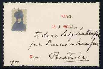 Great Britain 1901 Unusual photographic Christmas card from PRINCESS BEATRICE with ink inscription