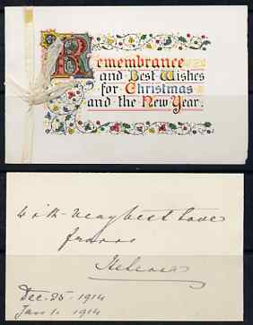 Great Britain 1914 Christmas card, enclosed letter with Crowned HELENA monogram plus original envelope (stamp removed) addressed to Lady Southampton from PRINCESS HELENA ...