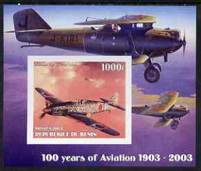 Benin 2003 100 Years of Aviation #2 imperf m/sheet (Kawasaki Type 3 1941) unmounted mint
