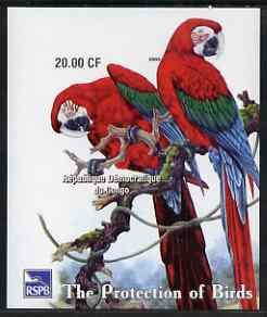 Congo 2003 Royal Society for Protection of Birds imperf m/sheet (Parrots) unmounted mint