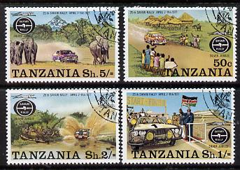 Tanzania 1977 Safari Rally complete set of 4 fine cds used, SG 202-5*