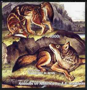 Benin 2003 Animals of America imperf m/sheet (Wolves by John Audubon) unmounted mint