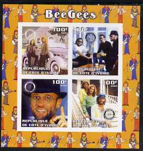 Ivory Coast 2003 The Bee Gees imperf sheetlet containing set of 4 values each with Rotary International Logo unmounted mint