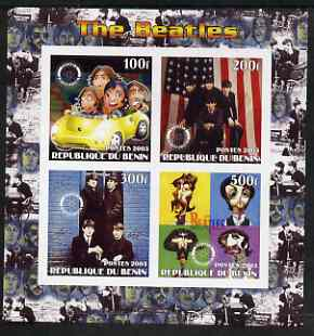 Benin 2003 The Beatles imperf sheetlet containing set of 4 values each with Rotary International Logo unmounted mint