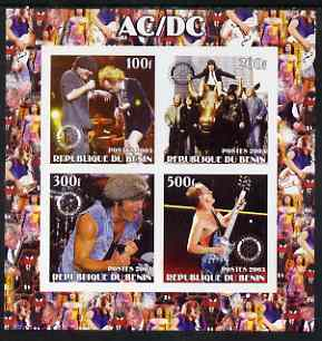Benin 2003 AC/DC imperf sheetlet containing set of 4 values each with Rotary International Logo unmounted mint
