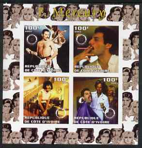 Ivory Coast 2003 Freddie Mercury (Queen pop group) imperf sheetlet containing set of 4 values each with Rotary International Logo unmounted mint
