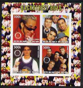 Benin 2003 Backstreet Boys imperf sheetlet containing set of 4 values each with Rotary International Logo unmounted mint