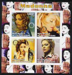 Ivory Coast 2003 Madonna imperf sheetlet containing set of 4 values each with Rotary International Logo unmounted mint