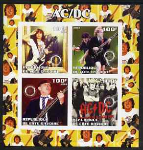 Ivory Coast 2003 AC/DC #1 imperf sheetlet containing set of 4 values each with Rotary International Logo unmounted mint