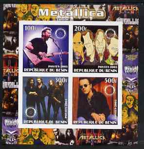 Benin 2003 Metallica #1 imperf sheetlet containing set of 4 values each with Rotary International Logo unmounted mint