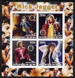 Benin 2003 Mick Jagger (Rolling Stones) imperf sheetlet containing set of 4 values each with Rotary International Logo unmounted mint