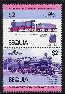 St Vincent - Bequia 1984 Locomotives #1 (Leaders of the World) $2 (City of Truro) unmounted mint se-tenant pair with yellow omitted