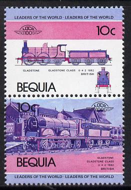 St Vincent - Bequia 1984 Locomotives #1 (Leaders of the World) 10c (Gladstone Class) unmounted mint se-tenant pair with yellow omitted