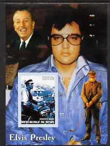 Benin 2003 Elvis Presley on Motorcycle #2 (with Walt Disney & Golfer) imperf m/sheet unmounted mint