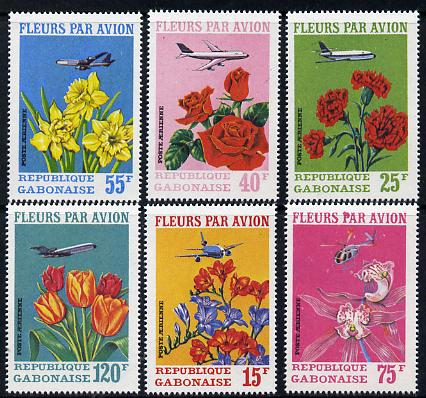 Gabon 1971 Flowers by Air perf set of 6 unmounted mint, SG 410-15