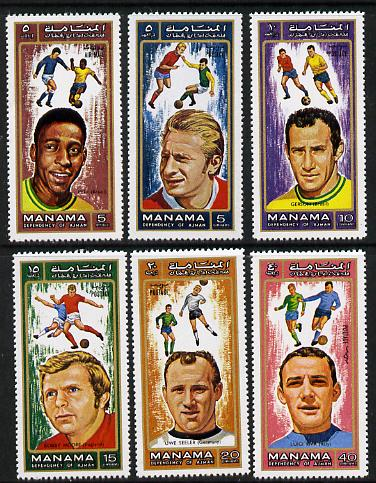 Manama 1972 World Cup Footballers perf set of 6 unmounted mint (MI 718-23A)