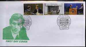 Kyrgyzstan 2000 Bobby Fischer & Boris Spassky Chess Championship #6 perf strip of 3 on illustrated cover with special Chess cancellation